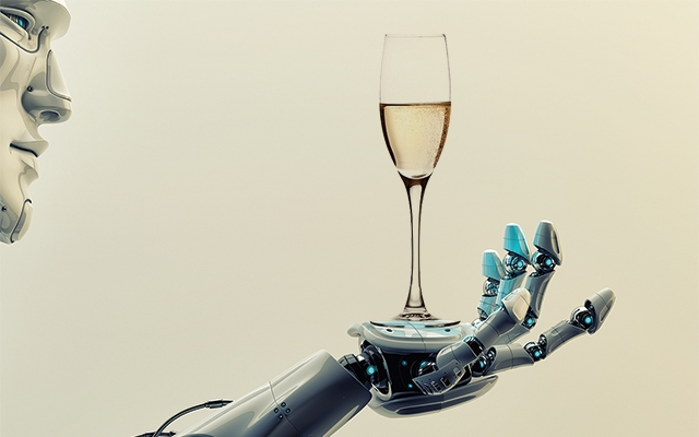 Oz bubbling; robots pouring