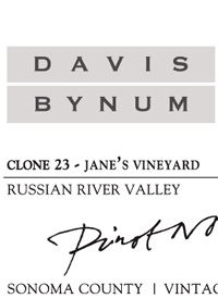 Davis Bynum Pinot Noir Jane's Vineyard Clone 23text
