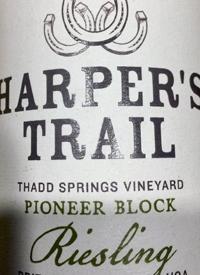 Harper's Trail Dry Riesling Thad Springs Vineyard Pioneer Blocktext