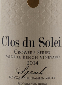 Clos du Soleil Grower's Series Syrah Middle Bench Vineyard
