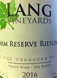 Lang Vineyards Farm Reserve Rieslingtext