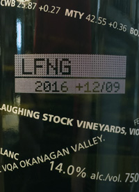 Laughing Stock Vineyards Viognier +02/09text