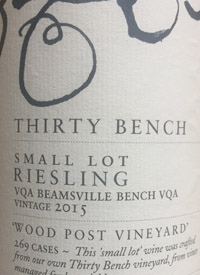 Thirty Bench Small Lot Riesling Wood Post Vineyardtext