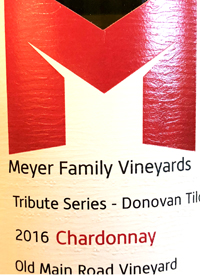 Meyer Family Vineyards Chardonnay Tribute Series Donovan Tildesley Old Main Road Vineyard