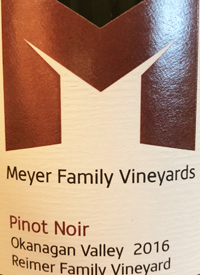 Meyer Family Vineyards Pinot Noir Reimer Vineyard Kelowna