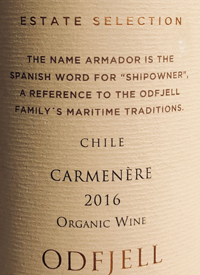 Odjfell Armador Estate Selection Carmenère Organic Winetext
