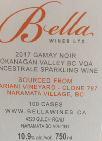 Bella Wines Gamay Noir Methode Ancestrale Mariani Vineyard Clone 787