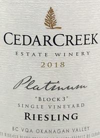 CedarCreek Platinum Block 3 Rieslingtext