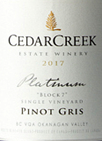 CedarCreek Platinum Block Single Vineyard Pinot Gristext