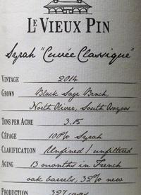 Le Vieux Pin Syrah Cuvée Classiquetext