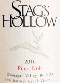 Stag's Hollow Pinot Noir Shuttleworth Creek Vineyardtext