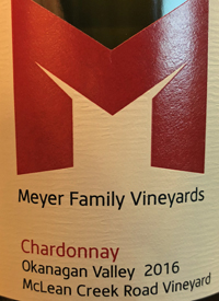 Meyer Family Vineyards Chardonnay McLean Creek Road Vineyardtext