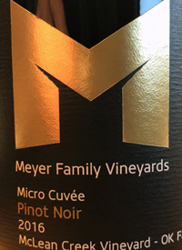 Meyer Family Vineyards Pinot Noir Micro Cuvée McLean Creek Vineyardstext