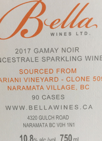 Bella Wines Gamay Noir Pet-Nat Mariani Vineyard Clone 509text