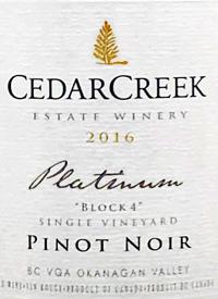 CedarCreek Platinum Block 4 Single Vineyard Pinot Noirtext