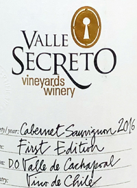 Valle Secreto Vineyards and Winery First Edition Cabernet Sauvignontext