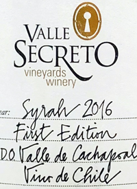 Valle Secreto Vineyards and Winery First Edition Syrahtext