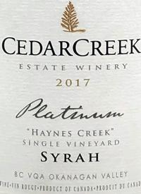 CedarCreek Platinum Haynes Creek Single Vineyard Syrah