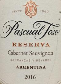 Pascual Toso Cabernet Sauvignon Reserve  Las Barrancas Vineyardstext