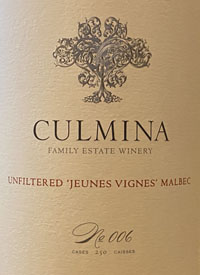 Culmina Family Estate N˚ 006 Unfiltered 'Jeunes Vignes' Malbec
