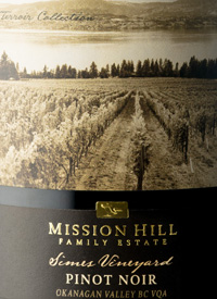 Mission Hill Terroir Collection Pinot Noir Simes Vineyardtext