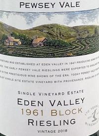 Pewsey Vale Eden Valley Single Vineyard Estate 1961 Block Rieslingtext