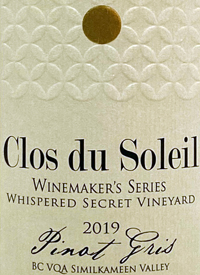 Clos du Soleil Winemaker's Series Whispered Secret Vineyard Pinot Gris