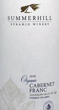 Summerhill Pyramid Winery Organic Cabernet Franctext