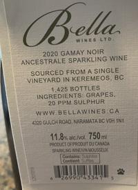 Bella Wines Gamay Noir Ancestrale Sparkling Wine Keremeostext