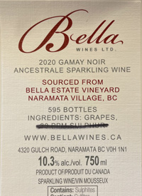 Bella Wines Gamay Noir Ancestrale Sparkling Winetext